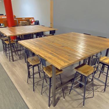 Solid Wood Bar Height or Counter Height Table, Pub Table with reclaimed wood and H steel legs. Choose color, size, thickness, finish by UrbanWoodGoods