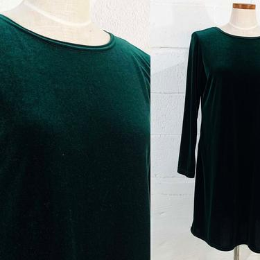 Vintage Dark Green Velvet Dress Forest Stevie Nicks Style 1980s 80s Long Sleeve Boho Festival Party Cocktail Goth Vamp A-Line Large XL by CheckEngineVintage