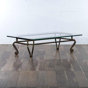 Vintage Regency Heavy Iron Coffee Table W Thick Glass