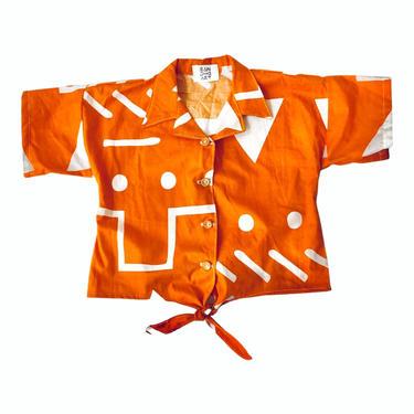 MONA TIE FRONT SHIRT - Orange Abstract