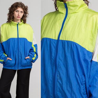 80s 90s Color Block Windbreaker - Men's Medium | Vintage Blue & Green Zip Up Lightweight Track Jacket by FlyingAppleVintage