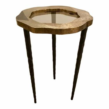 Modern Barry Dixon for Arteriors Metal Foil and Smoked Glass Drinks Table