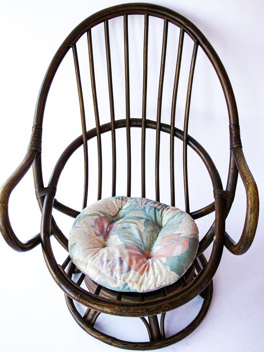 Unique Bohemian Vintage Bamboo Swivel Armchair - Dark Walnut Finish by PortlandRevibe