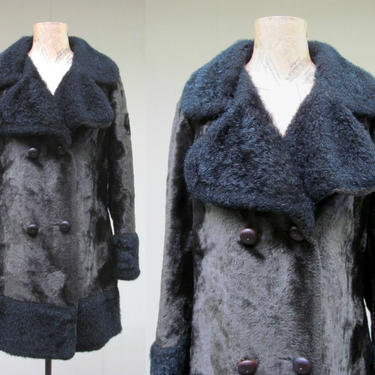 Vintage 1970s Boho Faux Fur Winter Coat, 70s Double-Breasted Plush Fabric Vegan Overcoat, Olive Green/Black Glam Rock Coat, Medium 42 Bust by RanchQueenVintage