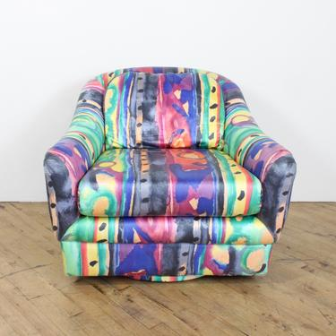 Abstract Swivel Club Chair Lounge 80s 90s Vintage Colorful by 330Modern