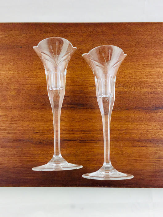 Vintage Glass Candleholders Pair Long Stem Etched Taper Candlestick Holders  Vintage Wedding Bridal Gift by AuntyEntitysVintage