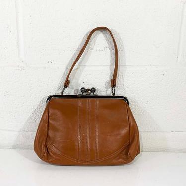 True Vintage Margolm Brown Leather Shoulder Bag Purse Handbag Tan Leather Burgundy Bow Envelope Crossbody Clutch Strap Evening 1960s 60s by CheckEngineVintage