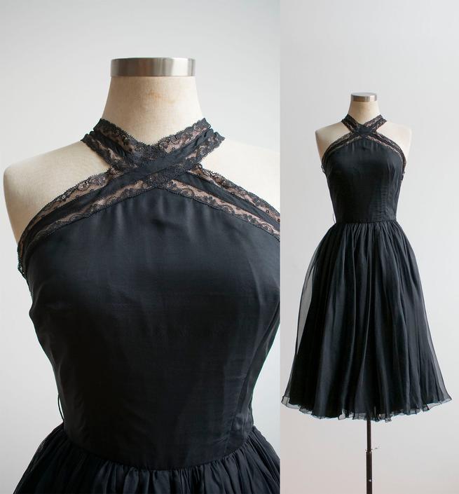Vintage 1950s Cocktail Dress / Black Chiffon Cocktail Dress / Chiffon Cocktail Dress / Vintage Cocktail Dress / Black Lace Cocktail Dress by milkandice