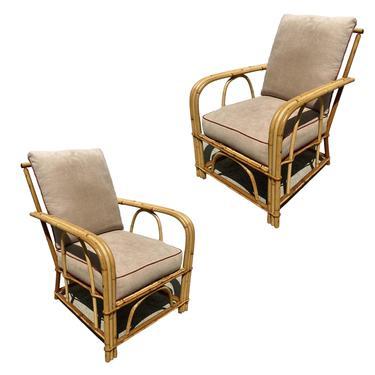 "Rare ""1949er"" Rattan 3-Strand Lounge Chair Pair by Heywood Wakefield by HarveysonBeverly"