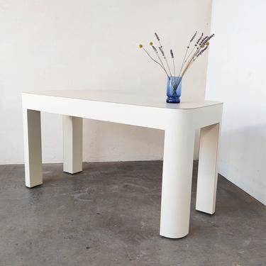 Vintage Ivory White Post Modern Laminate Console Table 80s by IridiumInteriors