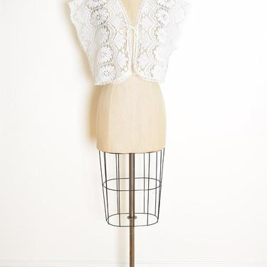 vintage 70s jacket top white crochet lace sheer crop top hippie boho shirt bolero clothing by huncamuncavintage