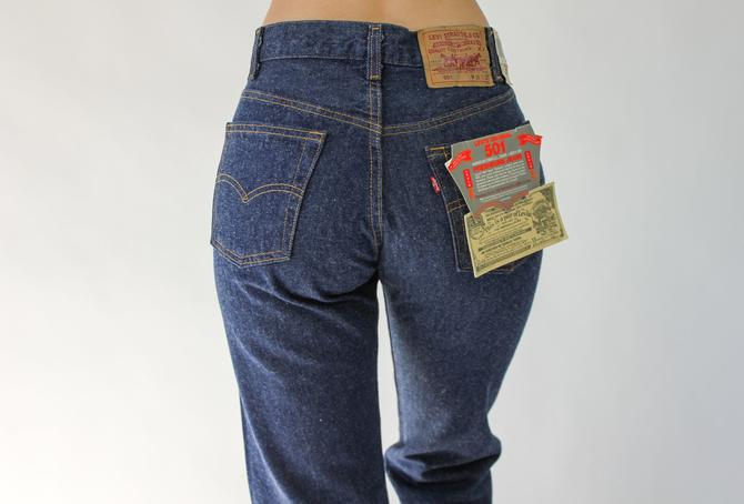 Vintage 80s LEVIS Medium Wash 501 High Waisted Jeans New w/ Tags | Made in USA | Size 27/28 | 1980s LEVIS Boho High Waisted Indigo Denim by TheVault1969