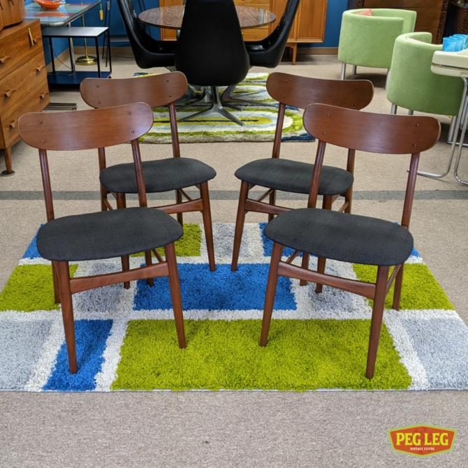 Set of 4 Danish Modern dining chairs with new upholstery