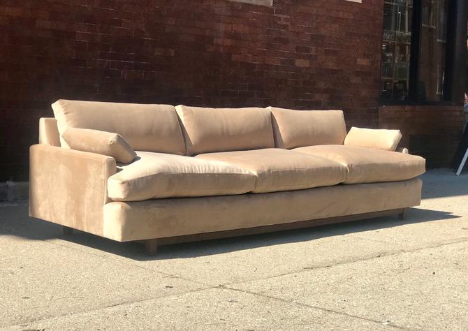 Newly reupholstered Mid Century Khaki Velvet Sofa by AntiquetoChicChicago
