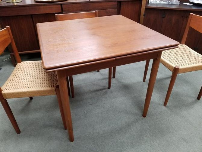 Danish Modern teak square draw leaf dining table