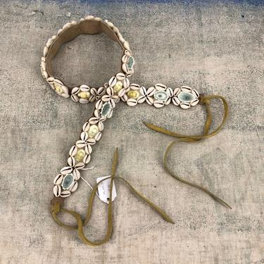 70s seashell suede tie belt / vintage 1970s conch shell wrap sash belt sz 29-31 by ritualvintage