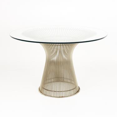 Warren Platner For Knoll Mid Century Glass Top Nickel Dining Table - mcm by ModernHill