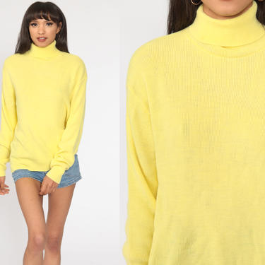 Yellow Sweater 80s TURTLENECK Sweater Lightweight Ribbed Pullover Sweater 1980s Vintage Plain Large xl by ShopExile