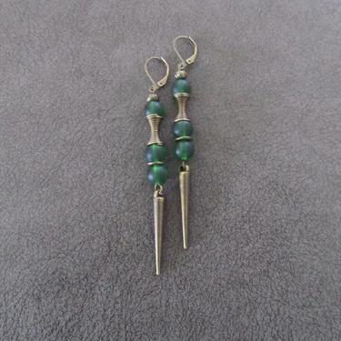 Green sea glass earrings, minimalist earrings, tribal ethnic earrings, bold earrings, long geometric earrings, modern statement earring by Afrocasian