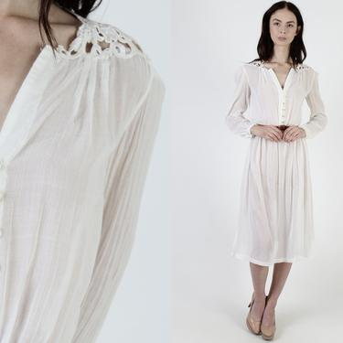 Off White Crochet Dress / Ivory Gauze Cut Out Dress / Vintage 70s Sheer Floral Lace Neckline / Plunging Deep V Neck Solid Tiered Midi Mini by americanarchive