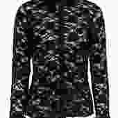 BCBG Max Azria - Black Sheer Lace Button-Up Blouse Sz M