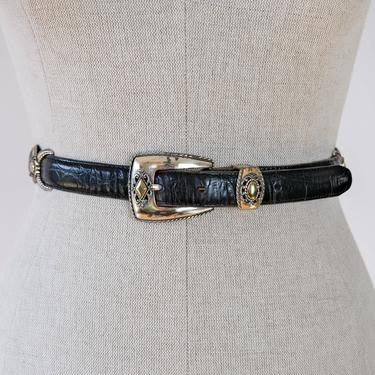 Vintage 80s 90s Brighton Black Crocodile Print Leather Belt w/ Ornate Silver and Gold Design   Bohemian, Western   1980s 1990s Leather Belt by TheVault1969