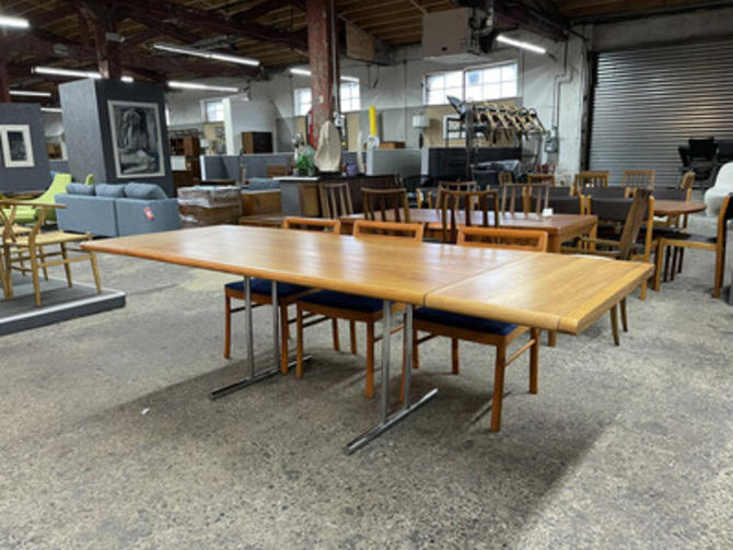 Oak And Chrome Dining Table