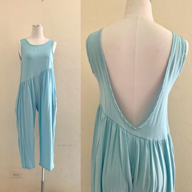 vintage 90's baby blue low back jumpsuit by HarlowsVintage