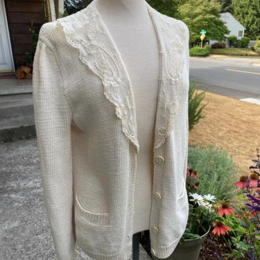 Vtg classic 80's trend sweater~ sheer lace collar ~ 100% cotton white cardigan~ preppy comfortable with pockets by HattiesVintagePDX