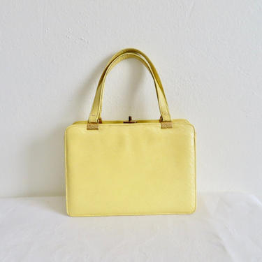Vintage 1960's Yellow Leather Purse Top Handle 60's Spring Handbag Mod Mid Century Accessories Andrew Geller by seekcollect