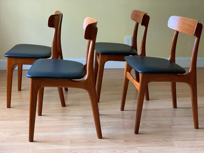 Set of four Danish Teak and Leather Dining chairs by ASISisNOTgoodENOUGH
