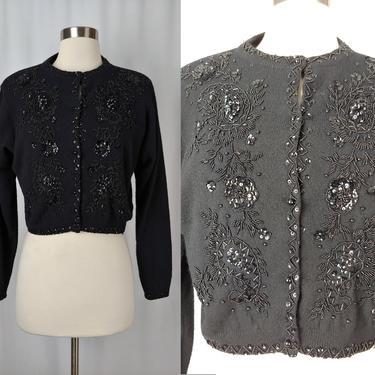 "Vintage 80s does 50s Black Beaded Sequin Cardigan Sweater - Eighties ""I Did It"" Small Wool Angora Blend Cardigan by JanetandJaneVintage"