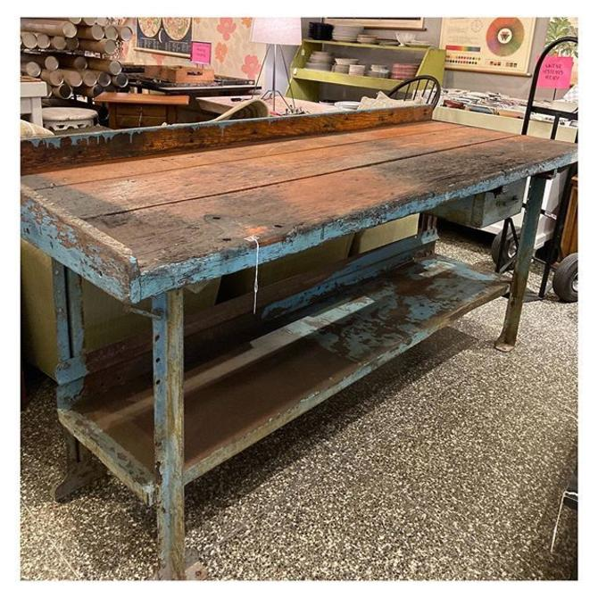 "Teal painted Rustic two tier workbench 81"" length / 30"" depth / 37"" height"