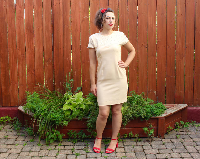 s.a.l.e. Vintage 1990s Pastel Linen Dress -  Short Sleeve Beaded Pearl Shoulder Pad Party Dress - S by SecondShiftVintage