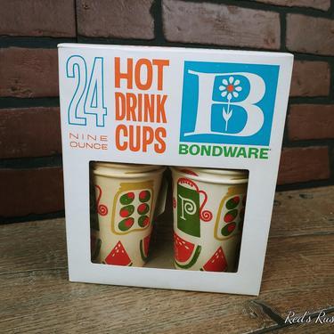 NOS 24 Bondware Mid Century 9oz Hot Drink Cups Disposable by RedsRustyRelics