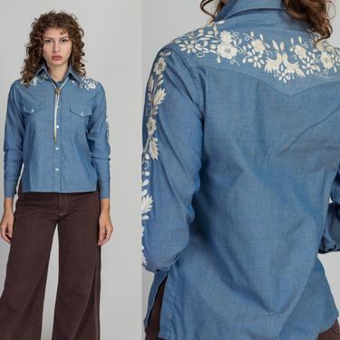 70s Chambray White Floral Embroidered Shirt - Petite Small to Medium   Vintage Blue Lightweight Button Up Pocket Top by FlyingAppleVintage
