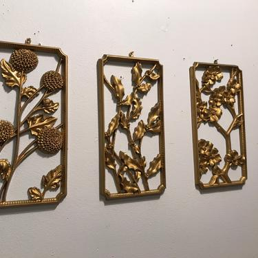 Vintage Gold Flower Wall Hanging, Wood Wall Hangings, Wall Art Chinoserie Regency Gold floral set of 3 Syrocco 3571 four seasons by VintageCoreReStore