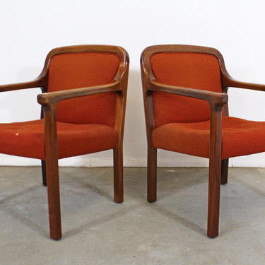Pair of Vintage Mid-Century Modern Helikon Walnut Arm Chairs by AnnexMarketplace