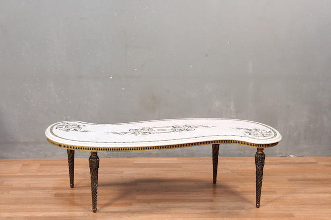 Italian Provincial Curved Marble & Brass Coffee Table – ONLINE ONLY