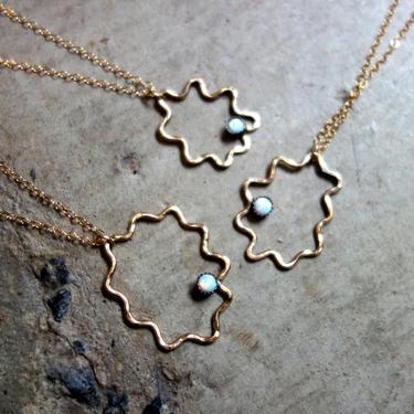 Amoeba Pendant- 14k Gold Filled and Opal Open Squiggle Pendant by RachelPfefferDesigns