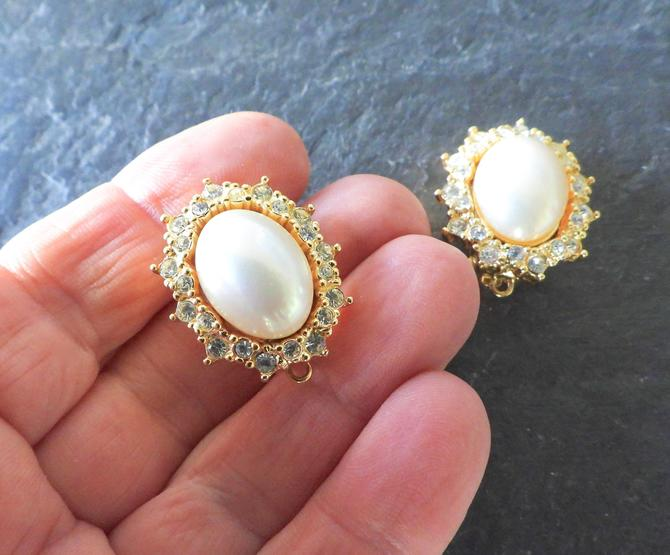 Christian Dior Faux Pearl Rhinestone Clip-on Earrings by LegendaryBeast
