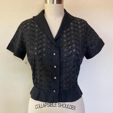 1950s Black eyelet lace blouse by VelvetGoldmineShop