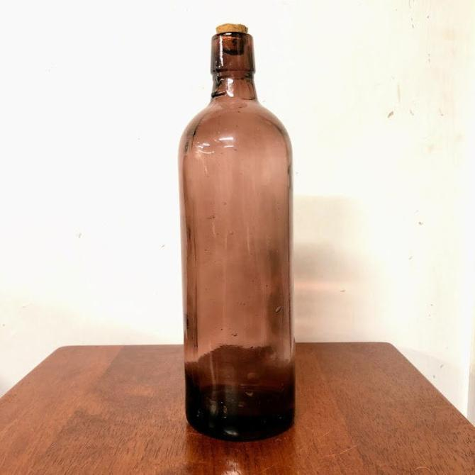 """Vintage Amethyst Glass Bottle 10 1/2"""" Tall by OverTheYearsFinds"""