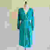 Vintage 1980's Turquoise Blue Silk Jacquard Evening Wrap Dress Long Sleeve Cocktail Party Nordstrom Medium Large by seekcollect