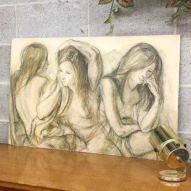 Vintage Nude Print 1960s Retro Size 22x34 Sheldon Clyde Schoneberg + Morning Reflections + Womans Portrait + Lithograph + Home + Wall Decor by RetrospectVintage215