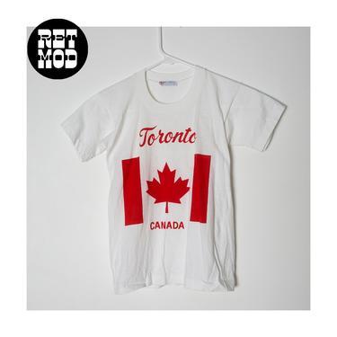 KIDS SIZE - Vintage 70s 80s Toronto Canada Maple Leaf Flag Soft T-Shirt by RETMOD