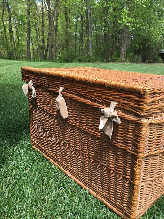 Vintage XL French Basket with Lid and Handles