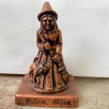 Vintage Salem Witch Chalkware Figure, Salem Massachusetts Souvenir, Halloween Decor, Small Witch Statue by luckduck