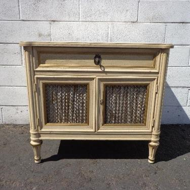 French Provincial Nightstand Bedside Table Bombe Gold Bachelor Chest Neoclassical Furniture Console Bedroom Shabby Chic CUSTOM PAINT AVAIL by DejaVuDecors