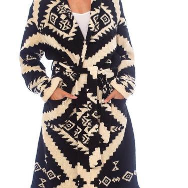 1990S Ralph Lauren Black & White Wool Hand Knit Navajo Pattern Maxi Sweater by SHOPMORPHEW